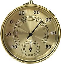 Higrómetro Termómetro de higrómetro al Aire Libre Interior Decorativo Temperatura precisa Medidor de Humedad Chic Monitor analógico Mensaje meteorológico (Color : Gold)