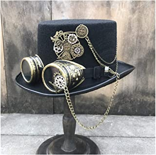 SHENTIANWEI Fashion Men Women Retro Handmade Steampunk Top Hat with Gear Glasses Stage Magic Hat Cosplay Hat Size 57CM