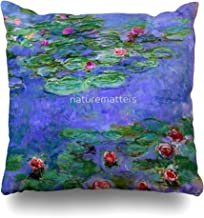 Ahawoso Throw Pillow Cover Square 18x18 Inches Water Lilies Red Oil On Canvas Claude Monet Decorative Pillow Case Home Decor Pillowcase