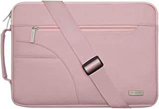 MOSISO Laptop Shoulder Bag Compatible with 13-13.3 inch MacBook Pro, MacBook Air, Notebook Computer, Protective Polyester Carrying Handbag Briefcase Sleeve Case Cover with Side Handle, Pink