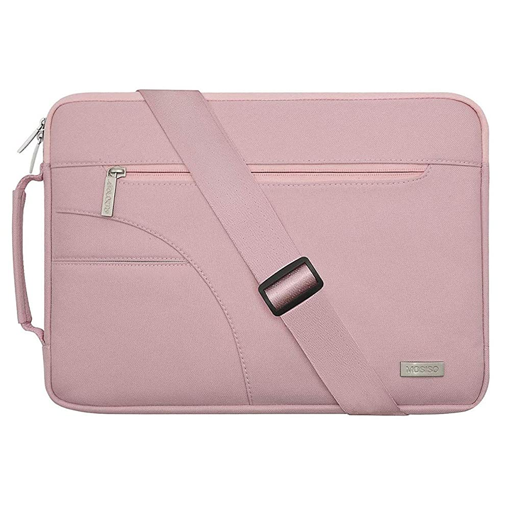MOSISO Laptop Shoulder Bag Compatible 13-13.3 Inch MacBook Pro, MacBook Air, Notebook Computer, Ultraportable Protective Polyester Carrying Handbag Briefcase Sleeve Case Cover, Pink