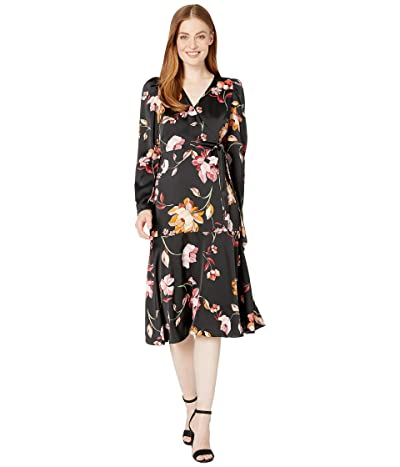 Maggy London Painted Garden Charmeuse Dress (Black/Carlet) Women