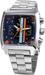 Fanmis Mens Automatic Analog Oblong Date Silver Stainless Steel Wrist Watch Business Luminous Watch
