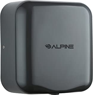 Alpine Industries 400-10-GRY Alpine Hemlock Automatic Hand Dryer - Heavy Duty Stainless Steel - Commercial High Speed Hot Air Hand Blower | 1800Watts | 110-120Volts | Quick & Easy Installation, Grey