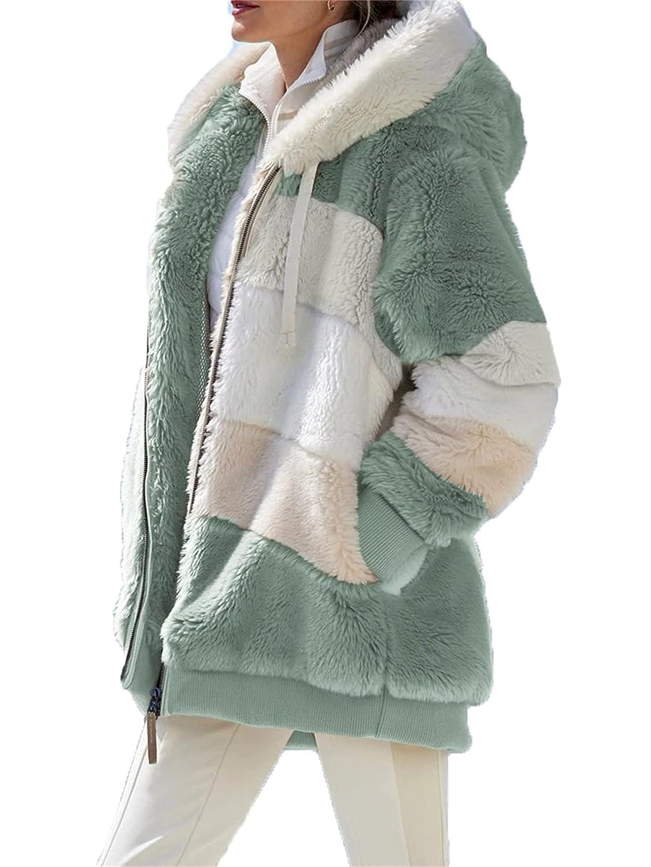 Womens Sherpa Jacket Ranking TOP11 Color Block Warm Fleec Very popular Coats Stripe Thicken