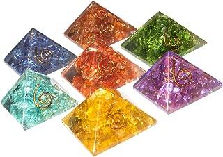 FASHIONZAADI Seven Chakra Onyx Stone Orgone Pyramid 7 Pcs Set for Crystal Gemstone Energy Chakras Balancing EMF Protection Aura Spiritual Healing Gift Meditation Size 1 Inch