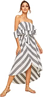 Women's Ruffle Belted Off Shoulder Striped Print Short Sleeve Dress