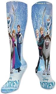 Lsjuee, Olaf adultos niños 3d impreso suave transpirable vestido atlético calcetines hasta la rodilla antideslizantes medias largas