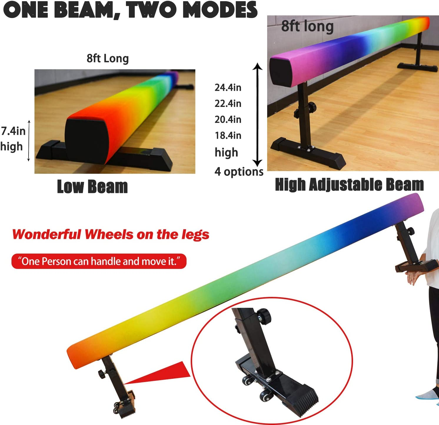 8FT High /& Low Club Level Gymnastics Competition Style Training Beam with Legs /& Wheels Bonus Anti-dust Cover PreGymnastic Adjustable Balance Beam