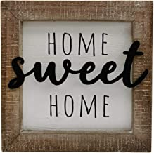 "NITYNP Home Sweet Home Welcome Sign,Wooden Framed Block Décor with Iron Cutout Word 8""x8"""
