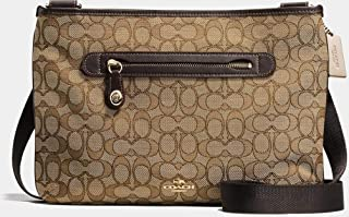 COACH 37587 TAYLOR Messenger Crossbody Bag in Signature Coated Canvas in Khaki/Brown