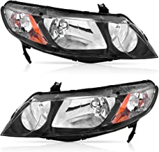 For 2006-2011 Honda Civic Sedan Headlights OEDRO (Dx, EX, EXS, GX, LX, LXS,Si) Black Housing Amber Reflector and Clear Lens Headlamp/Light,2-Yr Warranty