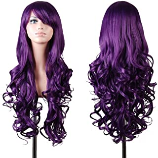 "(Dark Purple) - EmaxDesign Wigs 80cm 32"" High Quality Women's Cosplay Wig Long Full Spiral Curly Wavy Heat Resistant Fashion Glamour Hairpiece with Free Wig Cap (Colour: Dark Purple)"