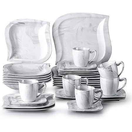 MALACASA, Série Elvira, 30pcs Service de Table Porcelaine Marbre, 6 Assiettes Plates, 6 Assiettes à Dessert, 6 Assiette à Soupe, 6 Tasses à Café, 6 sous-Tasses pour 6 Personnes