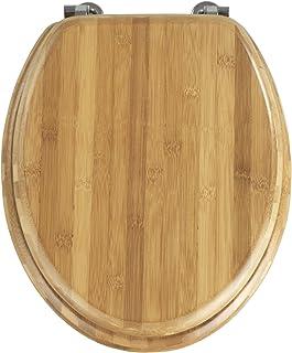 Wenko Bambus Asiento de Inodoro, Bambú, Marrón Oscuro, 42.5x37x3 cm