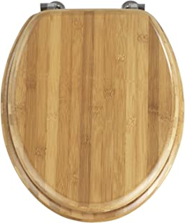 Wenko 144726100 Bamboo Toilet Seat - Chrome-Metal Attachments Dark Bamboo Wood by Wenko