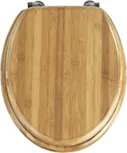 Toilet Seat with Stainless Steel Hinges, 34 x 41 cm, Real Bamboo, dark brown