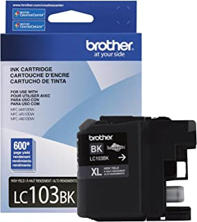 Brother Genuine High Yield Black Ink Cartridge, LC103BK, Replacement Black Ink, Page Yield Up To 600 Pages, Amazon Dash Re...