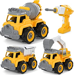 DEERC Remote Control Take Apart Toys RC Cars for Kids, DIY Assembly,3 in One Lights&Music Construction Toys Set with Play ...