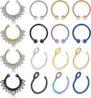 vcmart Fake Nose Rings Hoop 12-16pcs Stainless Steel Faux Fake Lip Ear Nose Septum Ring Non-Pierced Clip On Nose Hoop Rings