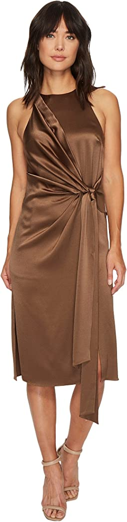 Halston Heritage Draped Front Satin Dress