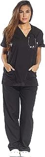 Just Love Women's Scrub Sets Six Pocket Medical Scrubs (V-Neck with Cargo Pant), Black, 2X