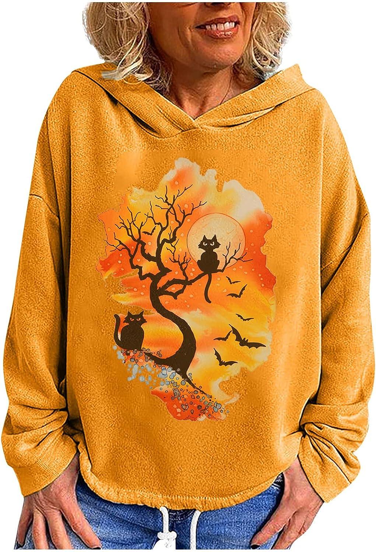 Women's Fall Colorful Funny Print Hooded Blouses Drawstring Hem Long Sleeve T-shirt Casual Halloween Festival Tops