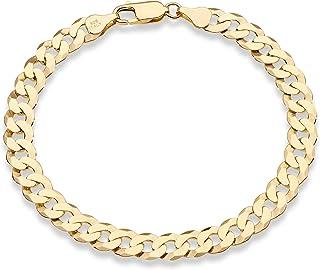 Miabella 18K Gold Over Sterling Silver Italian 7mm Solid Diamond-Cut Cuban Link Curb Chain Bracelet for Men Women 7, 7.5, ...