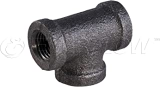 Everflow Supplies BMTE0100 High Pressure Black Malleable Tee Fitting with Female Threaded Connections, 1