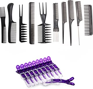 Le Fu Li 10pcs/Set Professional Hair Brush Comb Salon Barber Anti-static Hair Combs Hairbrush Hairdressing Combs Hair Care Styling Tools
