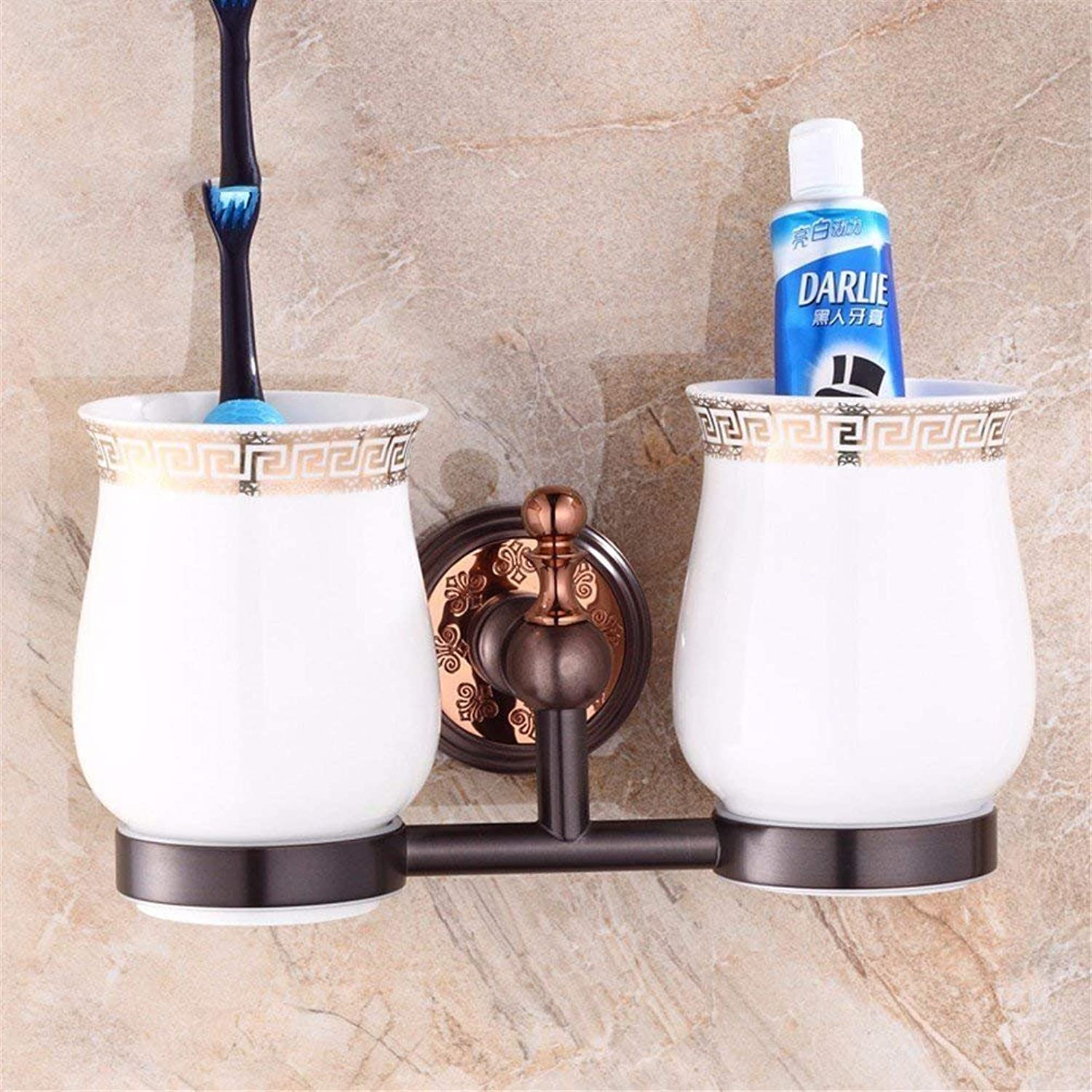 Continental Orb Cu + Accessory Kit in Pink gold of All Toilet Bathroom Toilet Paper Rack Brush Holder,Cupa Double