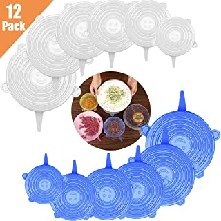 Jyongmer 12 Pack Silicone Stretch Lids, 6 Sizes Reusable Durable and Expandable Lids, Storage Silicone Covers for Keep Food Fresh, Fit Various Sizes and Shapes of Containers Bowl Covers or Dishwasher