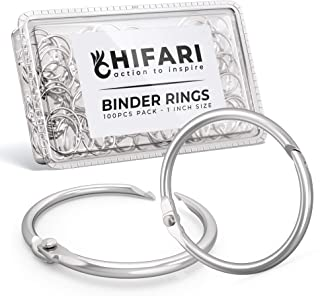 Hifari Pack 100 Binder Rings 1 Inch Nickel Plated Metal Book Rings for Index Cards, Keychain, Loose Leaf Paper, Notebook and More � Home Office School Supplies - Silver