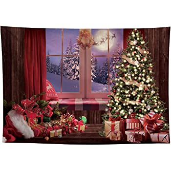 8x10 FT Backdrop Photographers,Reindeer and Santa Delivering Gifts on a Vintage Plane Winter Noel Illustration Background for Baby Shower Birthday Wedding Bridal Shower Party Decoration Photo Studio