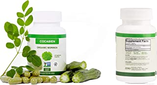 Cocabien - Organic Moringa Oleifera Capsules - Extra Strength 500mg - Supports Healthy Metabolism, Immune Booster, Supplement Pills, Non-GMO, Gluten Free, Rich in Nutrients 60 Capsules