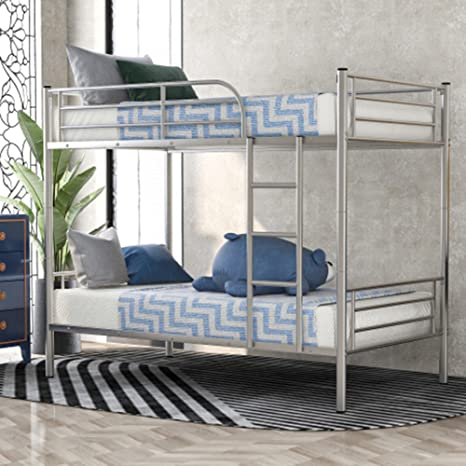 Amazon Com Twin Over Twin Metal Bunk Beds Rockjame Space Saving Design Heavy Duty Bed Frame With Removeble Ladder And Safety Rail For Kids Young Teens And Adults Silver Kitchen Dining