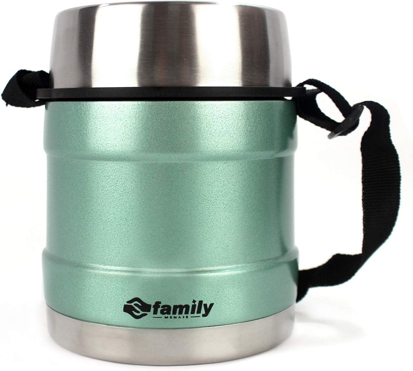 family Termo para Comidas de Acero Inoxidable, Recipiente Aislado para Sólidos y Líquidos con Recipiente Interiores para Sopas, Salsas o Ensaladas (Turquesa, 1.2L)