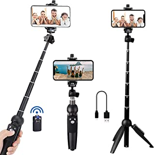 Portable 40 Inch Aluminum Alloy Selfie Stick Phone Tripod with Wireless Remote Shutter Compatible with iPhone 12 11 pro Xs...