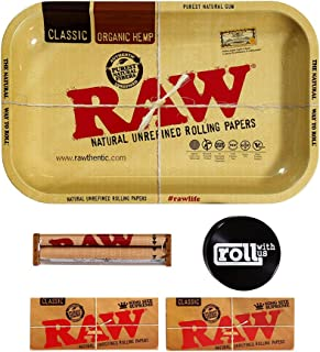 Raw Rolling Tray Small Bundle with Raw 110mm Roller, Raw King Size Supreme Rolling Papers, and Roll with Us Grinder