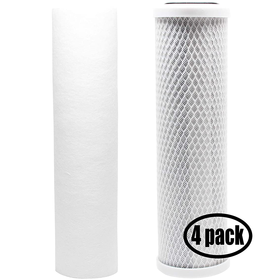 4-Pack Replacement Filter Kit for Hydo Logic HL# 31040 RO System - Includes Carbon Block Filter & PP Sediment Filter - Denali Pure Brand