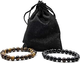 Pulsera Negra [Turmalina] y Pulsera Ojo de Tigre- Curación [Piedras Naturales] Pulsera Mujer Pulsera Hombre con Bolsa Rega...