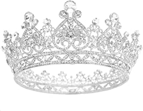 S SNUOY Silver Plated Rhinestone Full Round Wedding Crown for Brides Bridal Hair Jewelry