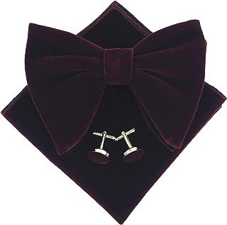 Mens Pre-Tied Oversized Bow Tie Tuxedo Velvet Bowtie Cufflinks Hankie Combo Sets