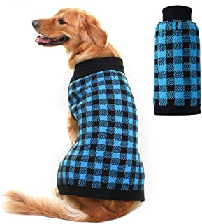 PUPTECK Dog Sweater Plaid Style Pet Cat Winter Knitwear Warm Clothes