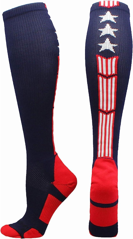 MadSportsStuff Patriot USA Flag Stars and Stripes Over The Calf Socks