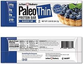 Julian Bakery Paleo Thin Protein Bar (Blueberry Tart) 10 Bars (20g Egg White Protein 2 Net Carbs w/Probiotics)