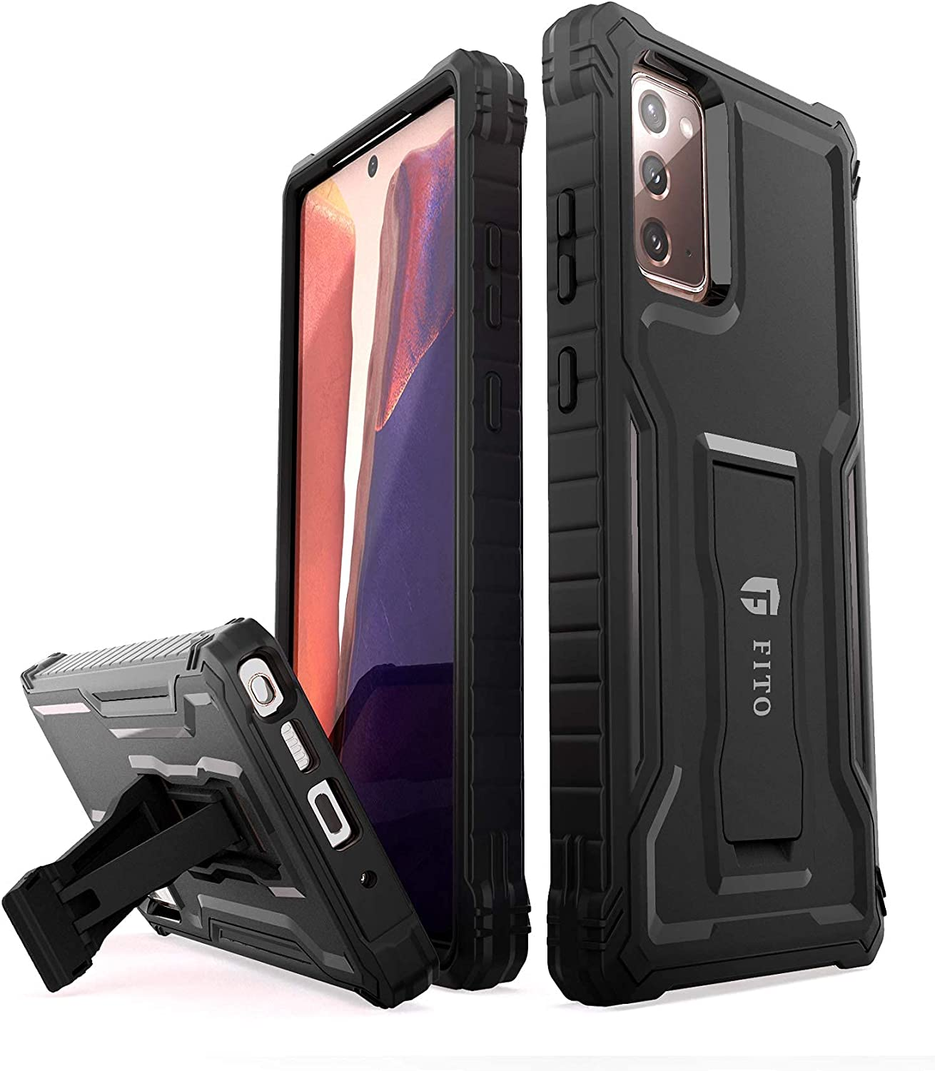 FITO Samsung Galaxy Note 20 Case, Dual Layer Shockproof Heavy Duty Case for Samsung Note 20 5G Phone Without Screen Protector, Built-in Kickstand (Black, 6.7 inch)