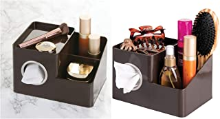 iDesign Facial Tissue Box Cover/Holder and Storage Caddy for Bathroom Vanity Countertops - Dark Brown
