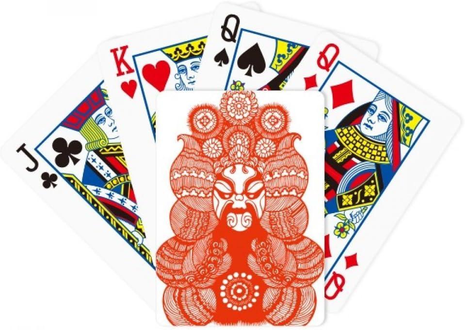 Papel cortado en papel de la ópera de Pekín Jefe de póquer chino Jugar tarjeta mágica divertido juego de mesa
