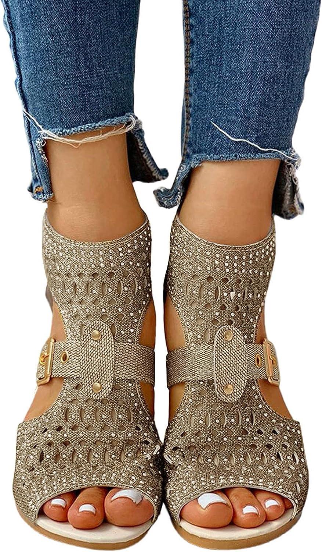 Niceast Sandals for Women Casual Summer, Open Toe Ankel Strap Zipper Crystal Platforms & Wedges Beach Sandals
